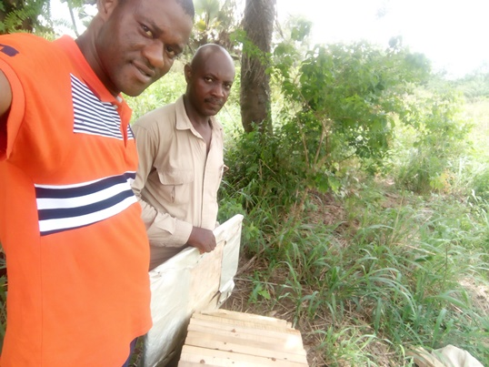 Gbeminiyi and Giwa Setting Up Hive at MeritChoice Agric Villa